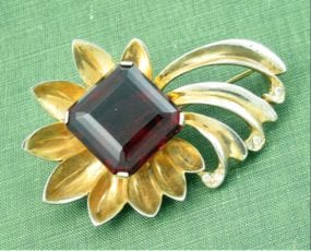 Garnet Red REJA STERLING Comet Flower Rhinestone Pin