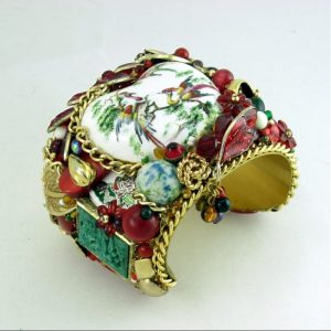 Exotic Phoenix Bird's Heart Couture Cuff Bracelet