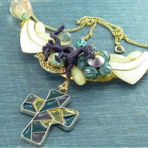 Stained Glass Art Necklace; Glass Cross and Purple Dragon Vintage Assemblage