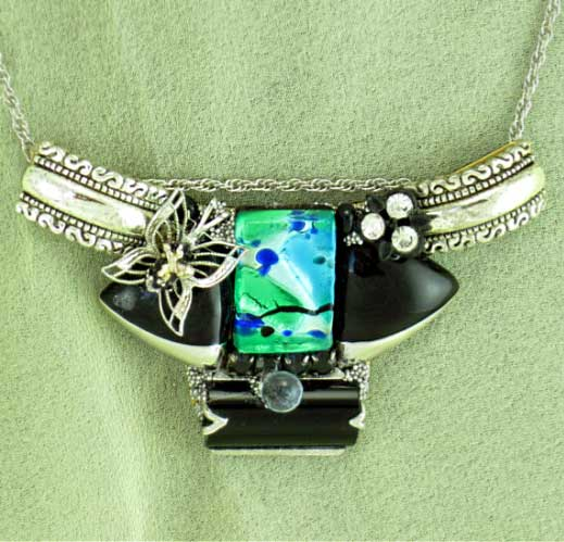 Black & Turquoise Fused Glass Necklace | Vintage Costume Jewelry