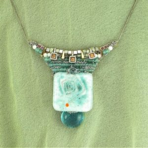 Fused Art Glass Necklace; Abstract Vintage Costume Jewelry