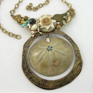 Sand Dollar & Turquoise Statement Couture Necklace