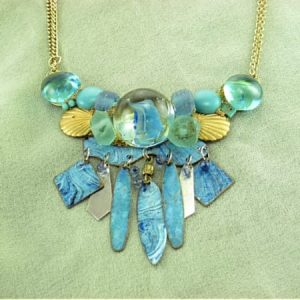 Sea Glass Statement Necklace | Recycled Vintage Costume Jewelry Assemblage