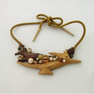 Wood Roadrunner Art Necklace