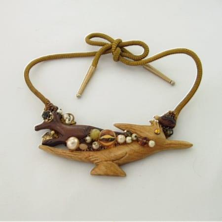 Wood Roadrunner Art Necklace