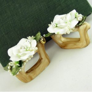 White Rose & Pearl Ceramic Napkin Ring Pair
