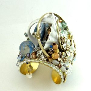 Vintage Couture Cuff Bracelet | Blue & Brown with Ruffled White Basket
