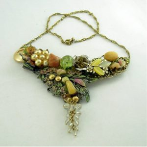 Garden Art Couture Necklace with Butterfly; Vintage Shoe Clips Costume Jewelry Recycled Assemblage