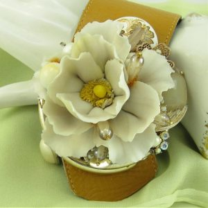 Warm White Rose Corsage Wrist Couture with Wrap Bracelet