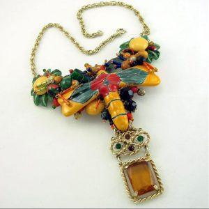 Dragon Fly Necklace - Golden Talavera Art Couture