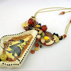 Ostrich Abstract Art Couture Necklace