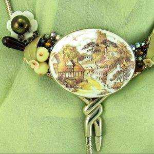 Village Stroll Wearable Art Necklace
